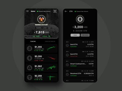 Customizable Crypto Wallet blockchain money neon dark ui financial btc bitcoin ethereum token eth cryptocurrencies wallet crypto mobile ui ux app