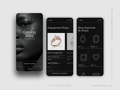 Paula - Diamonds & Jewlery swiss wedding ring luxury minimal diamonds jewlery ecommerce shop mobile app ux ui