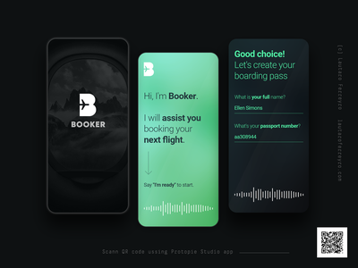 Booker • Voice-assisted flight booking app pieday booking flight assistant voice design mobile app ui playoff protopie