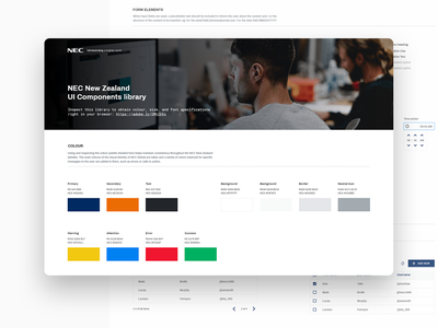NEC NZ - UI Components Library nec company it library components web.design ux ui