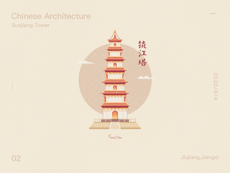 Chinese Architecture - Suojiang Tower china chinese culture buildings building towers illustration drawings