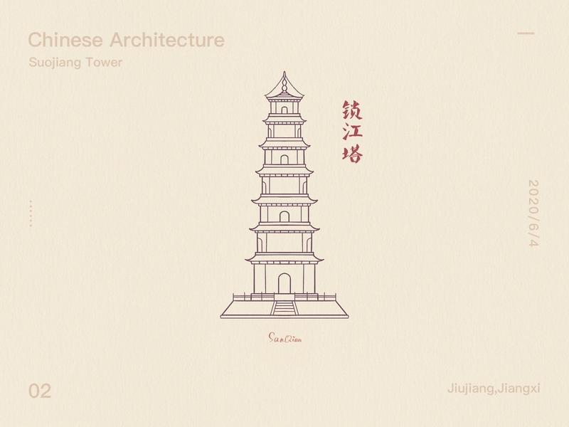 Suojiang Tower - Line Draft buildings design building drawings illustration