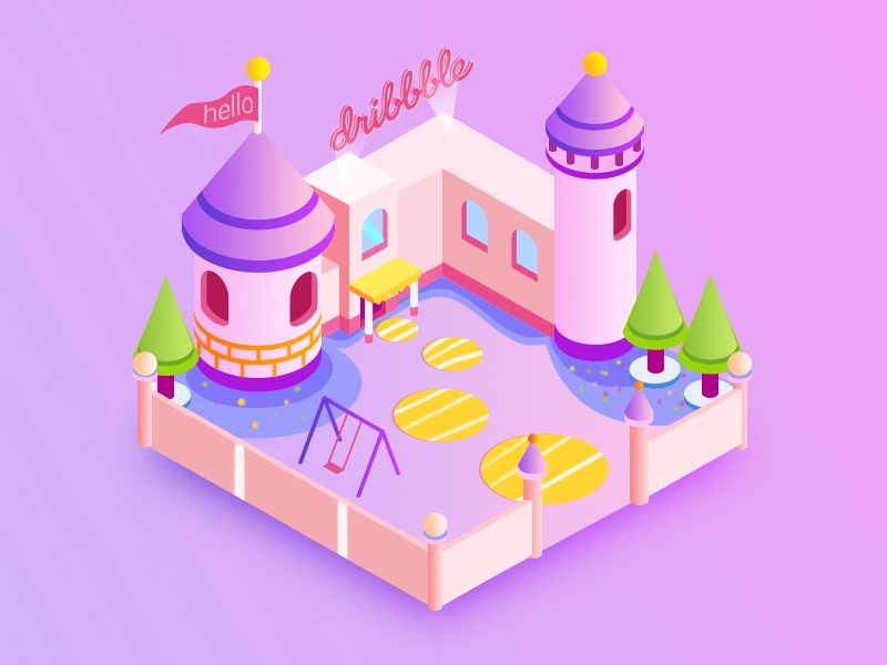 Dribbble Fistshot school ui building pink 2.5d illustration