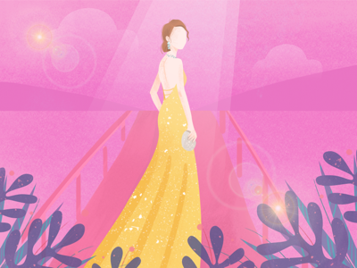 Actress ui illustration dream stage actress actor yellow pink