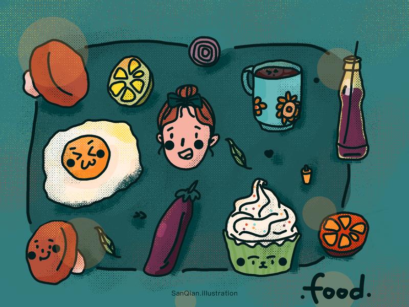 Food doodling sketch life blue mushroom cup cake lemon egg coffee girl food illustration