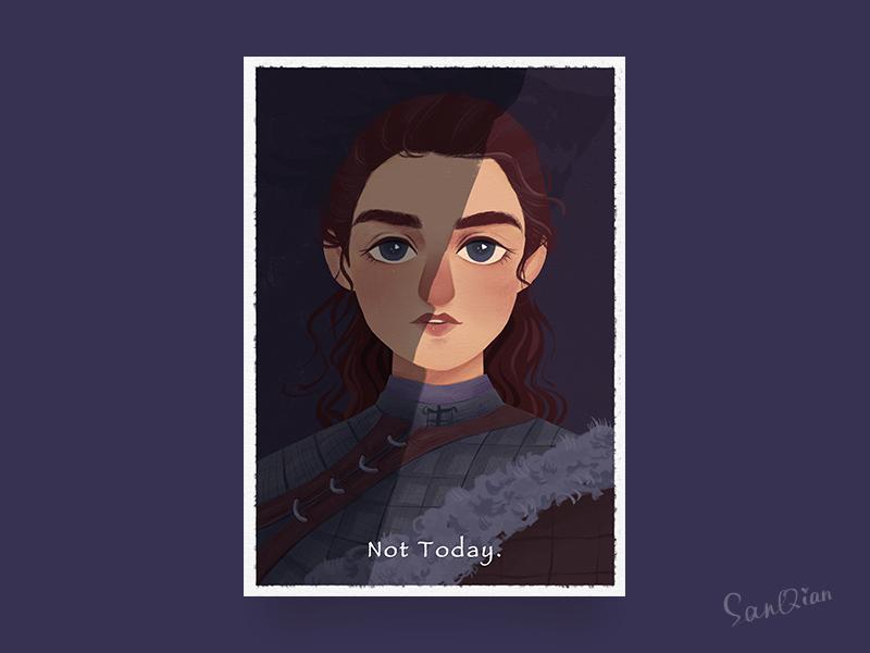 Arya Stark winter character arya stark show wolf got game of thrones illustration arya
