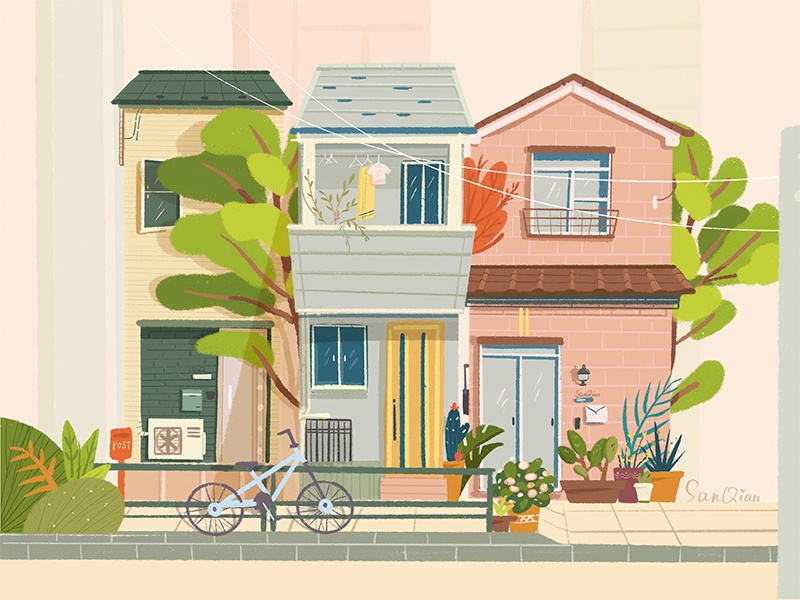Three Tall and Narrow Houses japan tokyo summer drawings pink plants tree treehouse dreams design building illustration