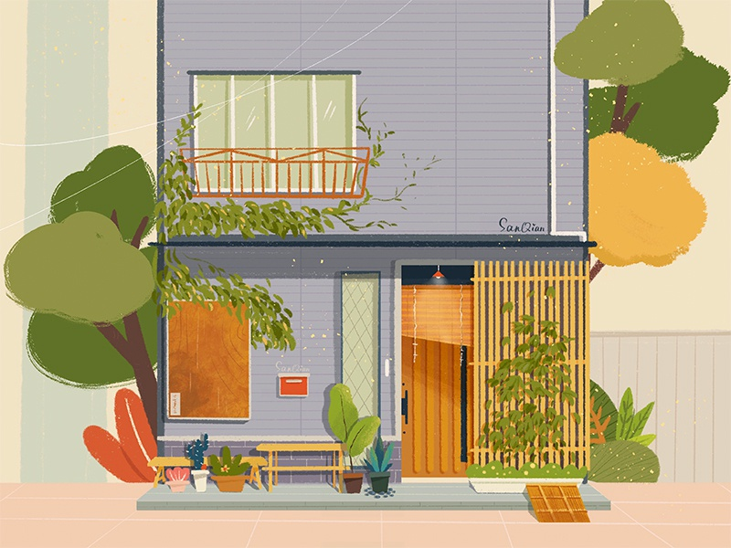 A Private House life green tree gardens drawings buildings japan tokyo private house plants design building illustration