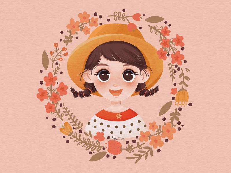 A Sweet Girl procreate artwork draw flowers girls drawings illustration