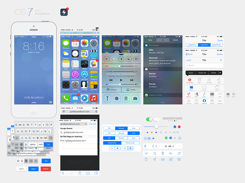 iOS7 Ui Kit psd free download ui kit ps app ios android