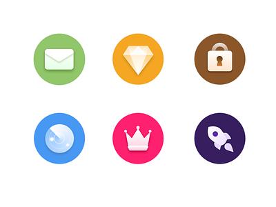 Icon diamond radar crown lock rocket mail ps gui ui sketch icon