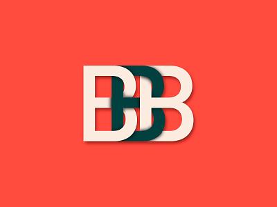 BBB b letter white black red logo illustration flat chain blockchain bbb branding design