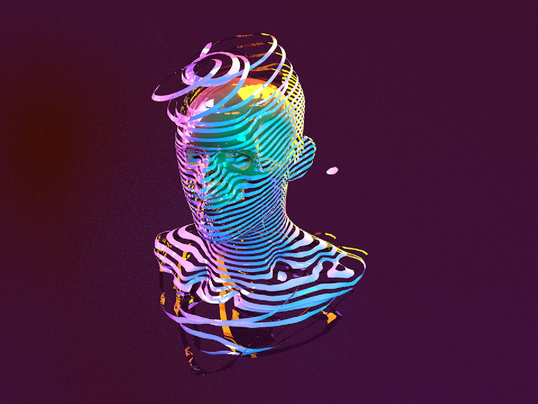 Skull glitch cinema 4d c4d destruction pulse ripple 3d art 3d strip tape rings ring head skull illustration design