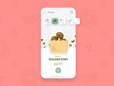 Fruits & Vegetables App UI product page kiwi purchase interaction checkout food app mobile apps mobile app e-commerce store app design ui design ux ui