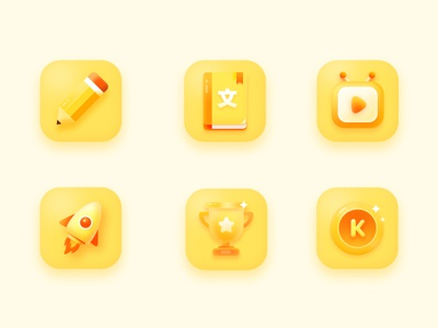 Learning Icon learning ui pencil study 2.5d illustrator
