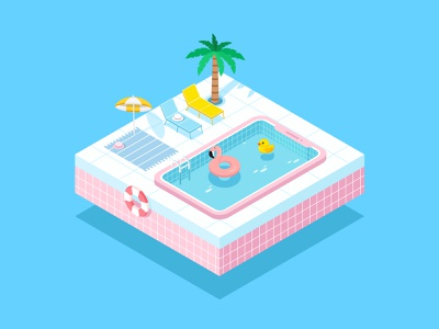 swimming pool logo ai icon ui design illustration 2.5d