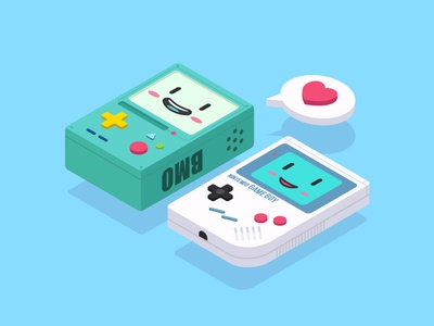 2.5D—BMO And Game Boy adventure time bmo gameboy ai illustrator icon game 2.5d