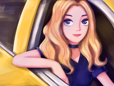 Racing Beauty girl car illustrator