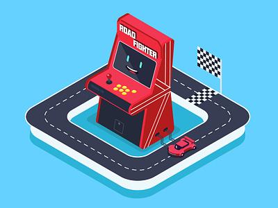 《ROAD FIGHTER》 rocket car fc clean game ui illustrator 2.5d