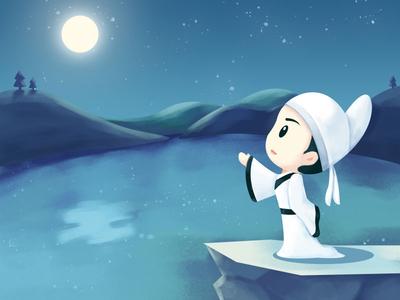Li Bai moonlight ancient nightscape history illustrator