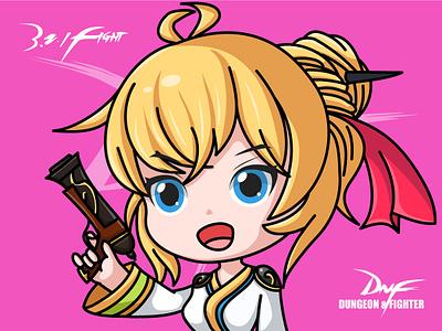 DNF-Goddess Gunner gun girl dnf design ai illustration game illustrator