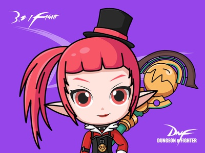 DNF-Mage spirit lolita girl magic wand illustrator game dnf magician
