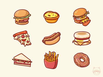 Snack illustrator series fried hot dog sandwich pizza hamburger food illustration