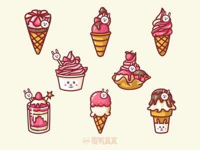 Rabbit ice cream illustration sweet tube chocolates strawberry ice cream illustration