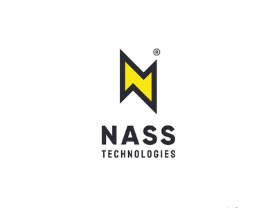 N for Nass technologies logo n letter tech electricity yellow electric logo n