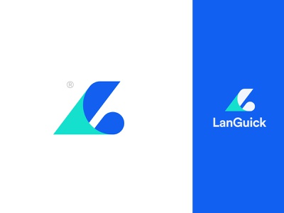 Languick l letter minimal modern blue color fresh sharp pictorial typography branding mark design logotype letter monogram logo