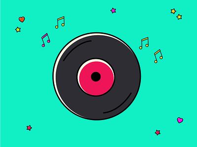 Freebie Vinyl vector illustration vinyl sound music icon freebie