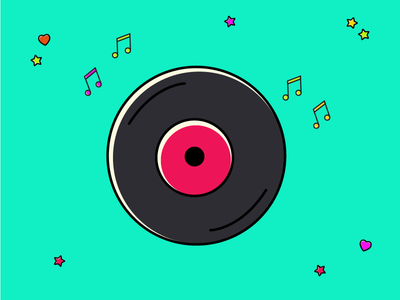 Freebie Vinyl vector illustration vinyl sound music icon freebie