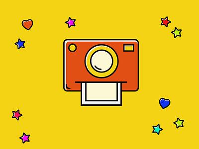 Freebie Camera colorful flat photo camera polaroid icon illustration
