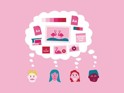 Illustration team flamingo pink illustration