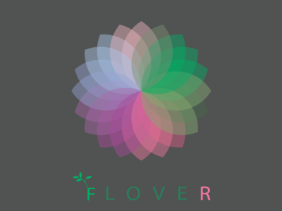 F lover flower gradiant coloful flat icon vector illustration design