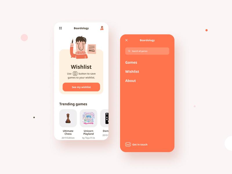 Boardology App web interactive trending app ui homepage search orange app design ui wishlist navigation ux