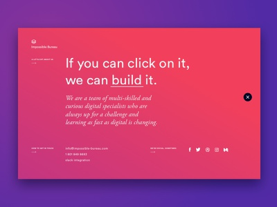 Contact social arrow purple pink simple clean interactive design gradient contact ux web