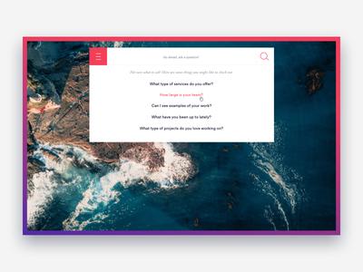 Smart Search web ux conversational search gradient pink purple navigation ai search
