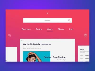 Navigation search navigation purple pink interactive web ui ux