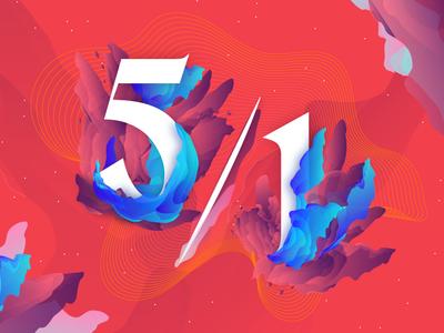 5/1 gradients blending blue red ratio typography