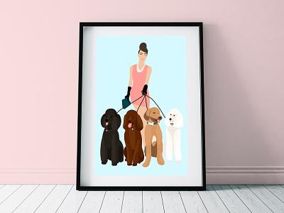 4 Poodles dogs drawing art procreate illustration hand drawn kristen riello design poodle poodles