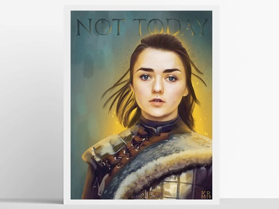 What do we say to the god of death? arvo painting typography art illustration procreate design kristen riello aris hbo got game of thrones arya stark arya