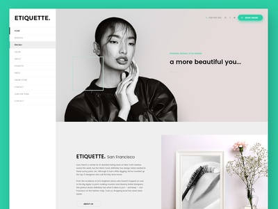 Etiquette   Beauty Shop fashion beauty pink aqua green ux ui website