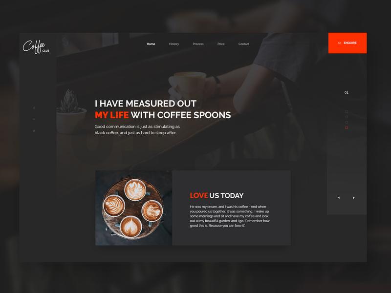Coffee Club - My Life design ui user interface app food and drink restaurant food coffee orange ux uidesign landing page website