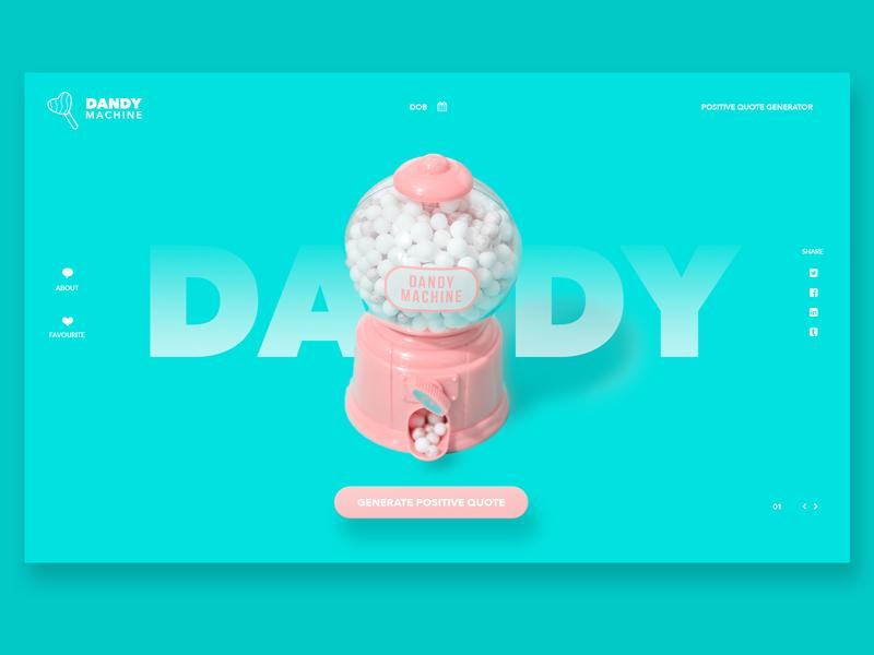 Dandy - Positive Quote Generator mints lollies design logo ux web design aqua positive website user interface ui