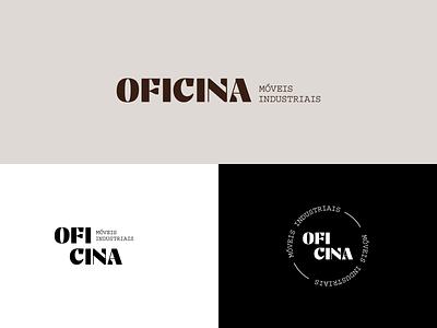 Oficina Logo Design factory elegant rustic wood type furniture typography logo