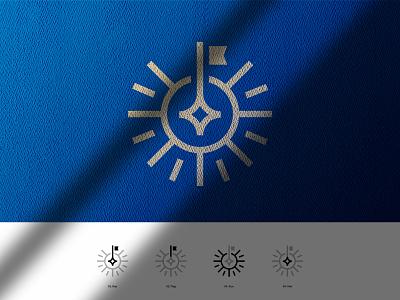 Inovando Imóveis flat design minimalist symbol minimalism house home blue real estate logo key sun star flag