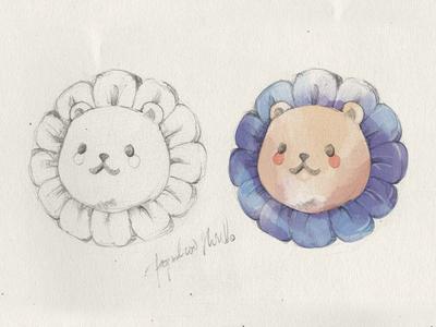 Popolionhead watercolor lion bear cute concep sketch