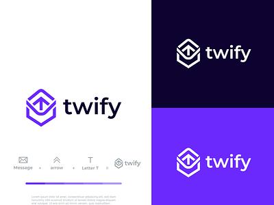 Twify Logo process creative flat logodesigner designer agency mark branding identity modern minimal logo tech logo chat logo