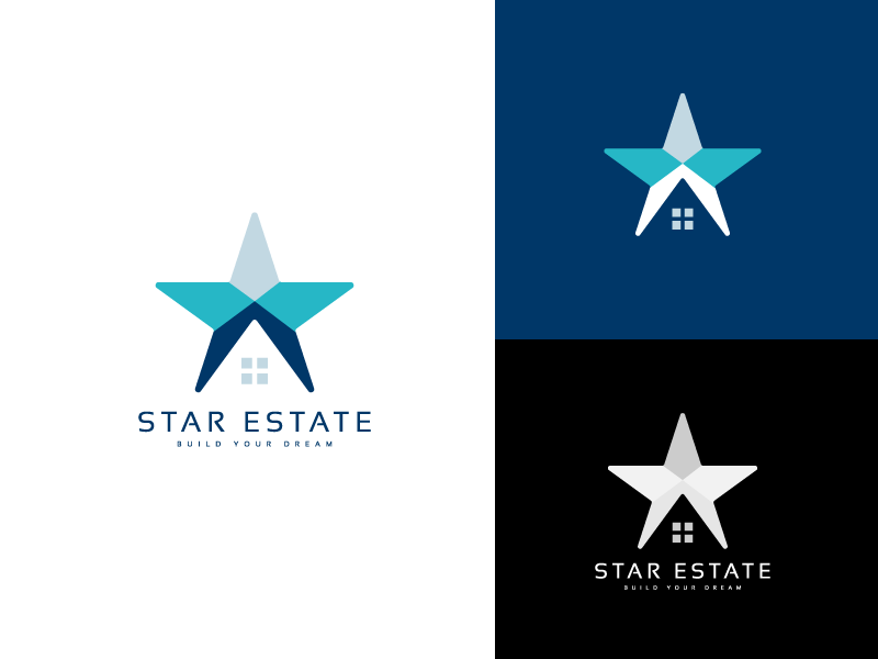 Star Estate process logo mark agency branding identity art illustration design unique modern minimal flat retail logoinspiration vector logos shop building realestate